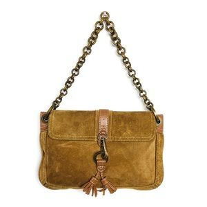 J Crew Handbag Brown Suede Brass Chain Strap
